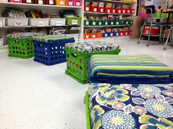 DIY storage bench made from a plastic crate | turn a filing crate into a bench perfect for the classroom or kids room