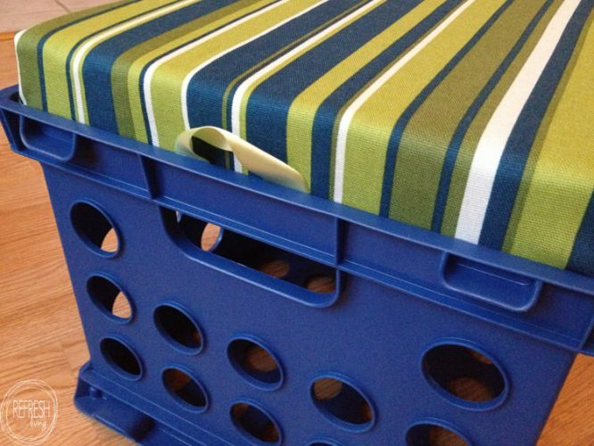 These would be great for the classroom or playroom. I can't believe how easy it is to make these stools from plastic file crates and foam!