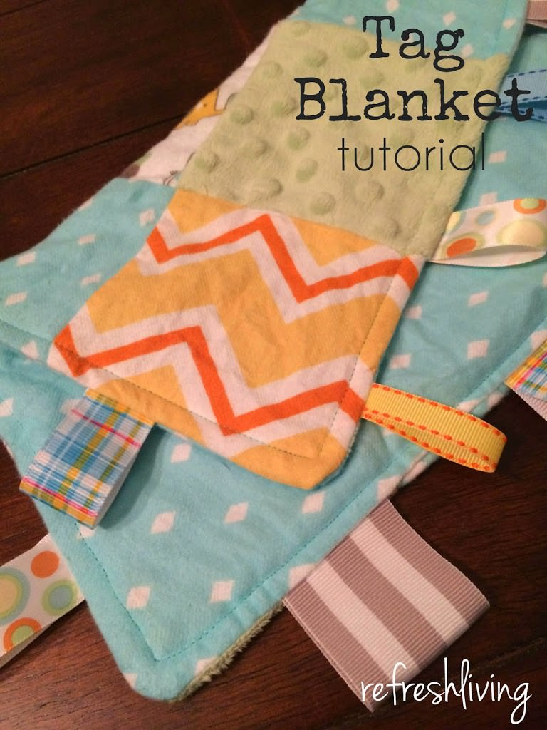 how to make a tag taggie blanket