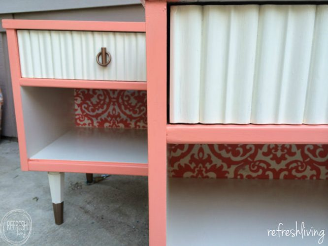 Vintage nightstands get a pop of color with pink and fabric