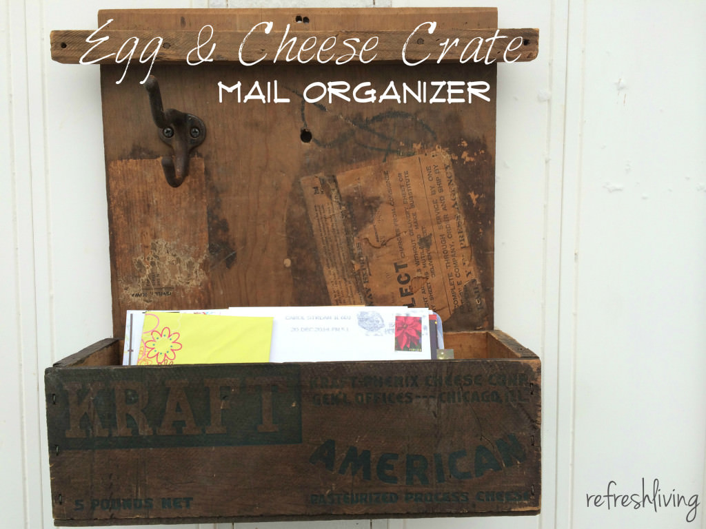 Upcycled Egg crate and cheese crate mail organizer