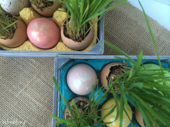 grass in egg shells for easter spring decor