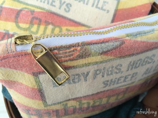 grain sack zippered pouch