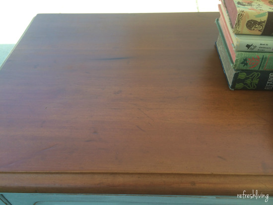 stained refinished dresser top