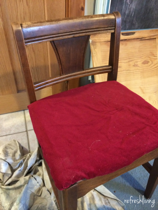vintage sewing chair before