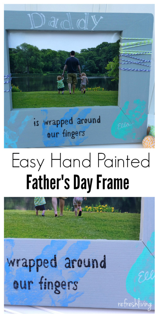 DIY fathers day gift picture frame with handprints 2