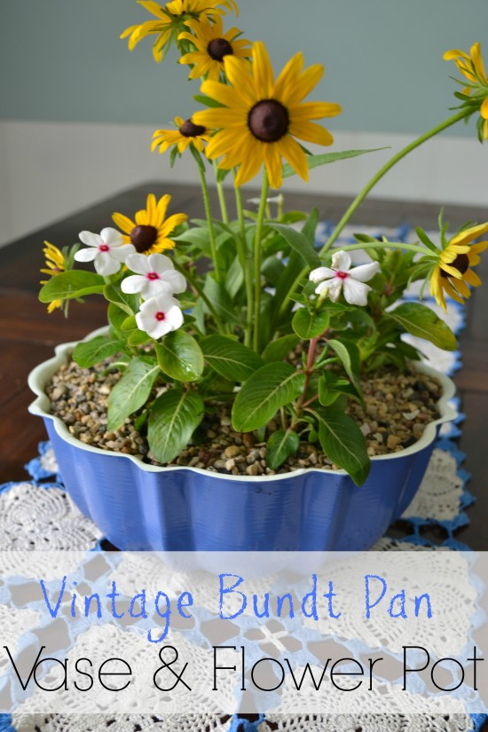 bundt pan vase and flower pot upcycled