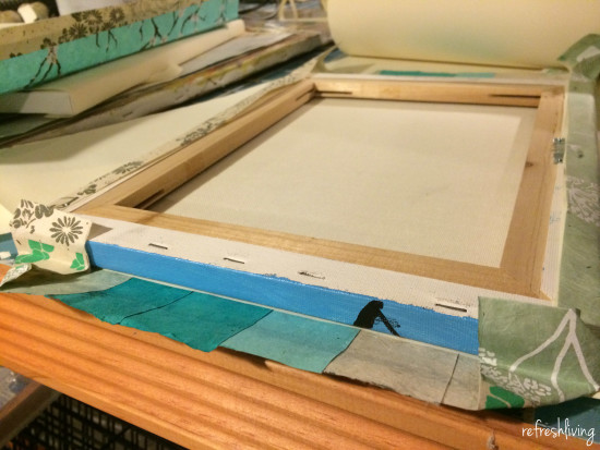 canvas wrapped frames with paper