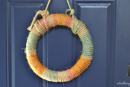 diy rope wrapped summer wreath