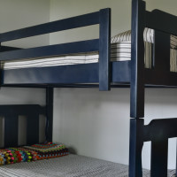 easily update an old bunk bed with paint and fabric | how to paint a bunk bed | how to repair a bunk bed