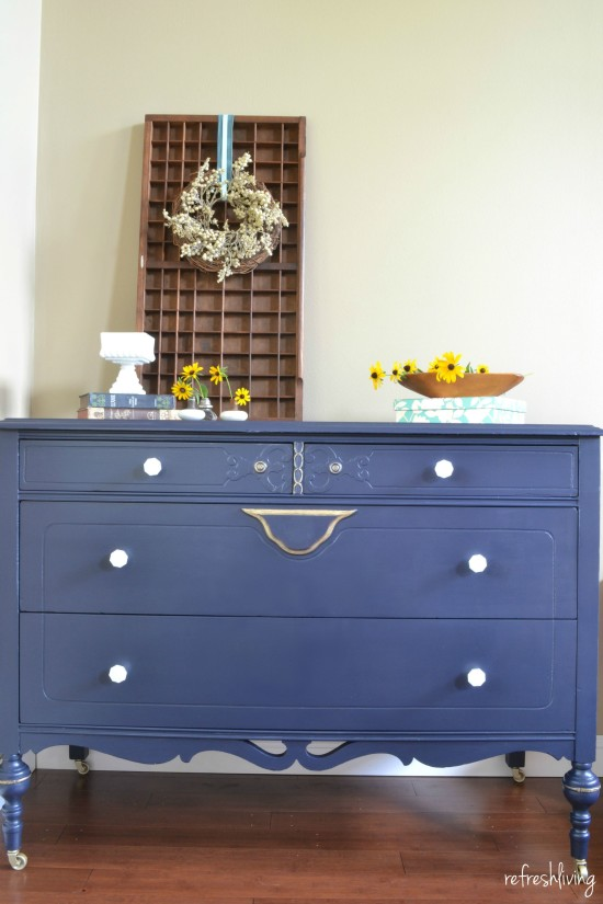 coastal blue dresser with gold accents 2