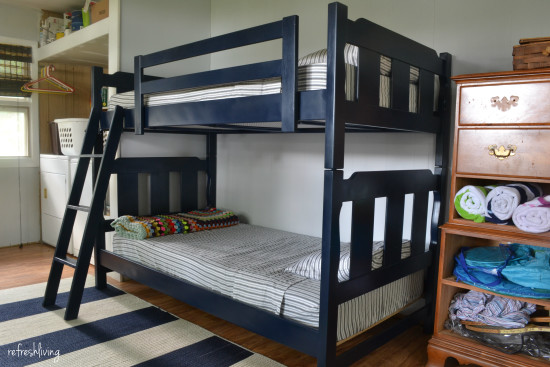 painted and fabric bunk beds
