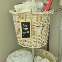 Bathroom Storage from Thrift Store Baskets