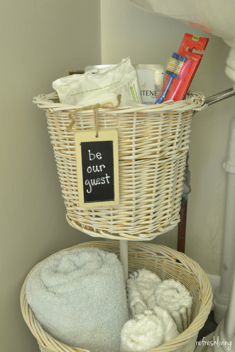 diy bathroom storage from baskets refresh living