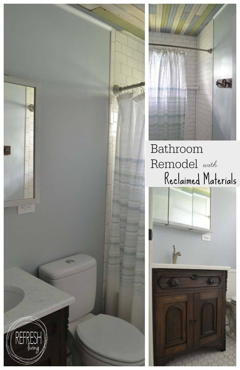 Bathroom remodel on a budget with reclaimed materials for Tub materials