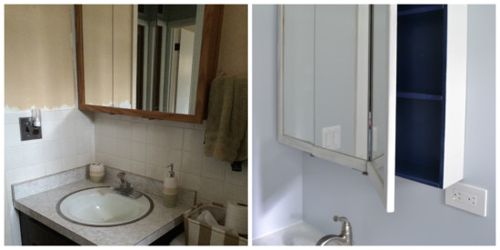 bathroom remodel with refinished medicine cabinet