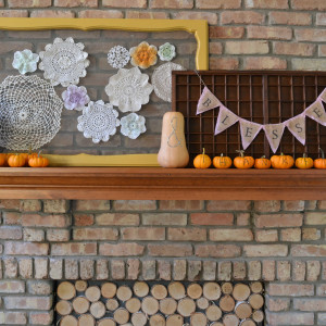 Fall Mantel using items from the garden and backyard
