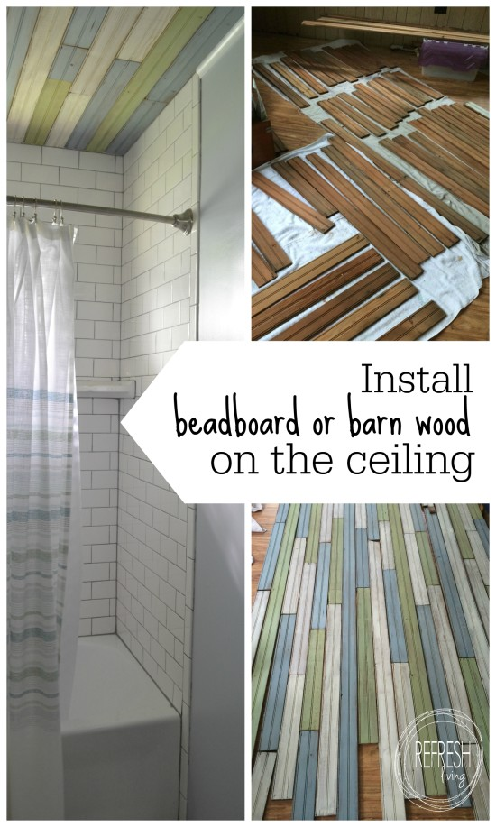 how to install bead board or barn wood on the ceiling