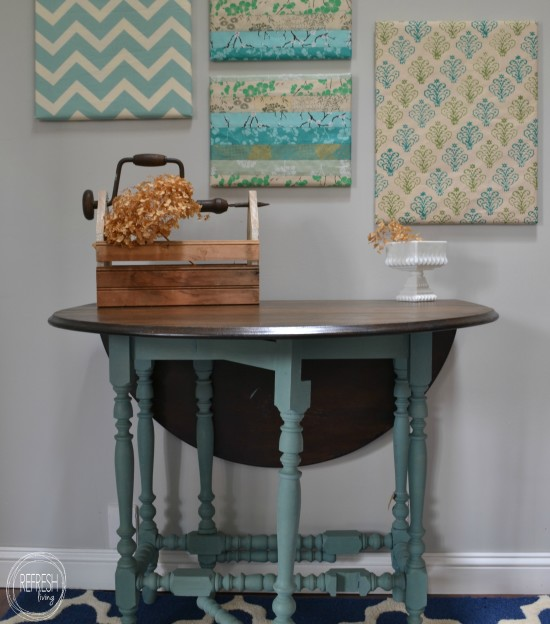antique gate leg table with mail paint and stained top