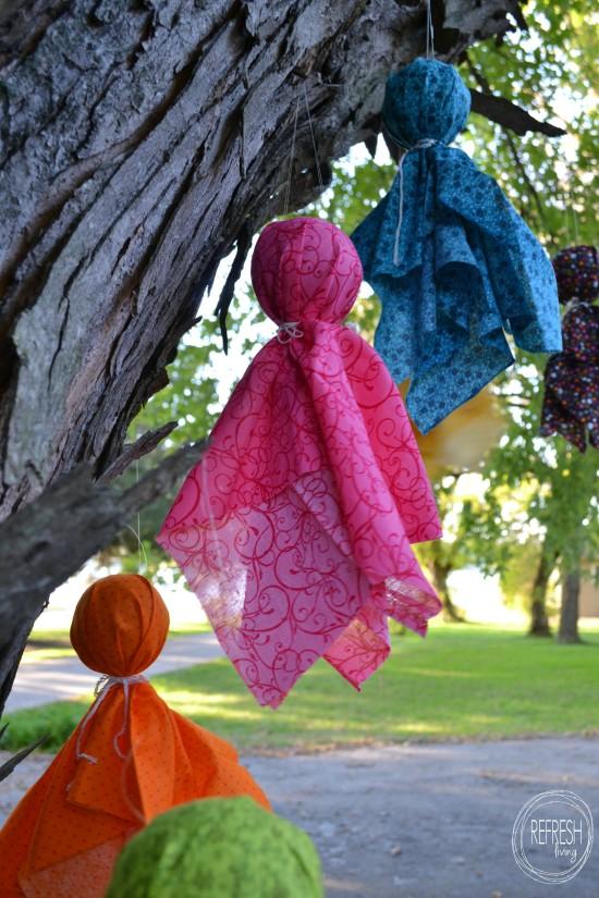 diy halloween fabric scrap ghosts