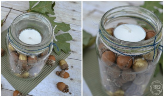 fall acorn centerpiece glass jar