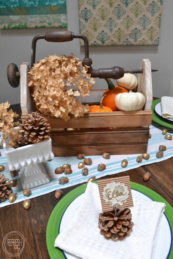 Pine Cone Place Card Holders, shared by Refresh Living at The Chicken Chick's Clever Chicks Blog Hop