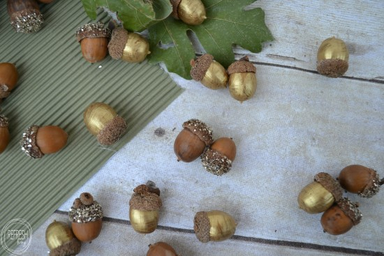 gold painted and glitter acorns