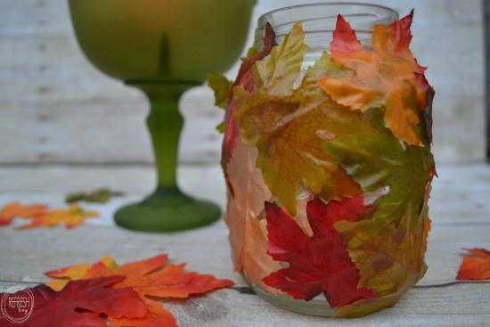 leaf covered mason jars