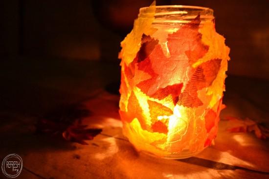 leaf covered jar diy fall craft