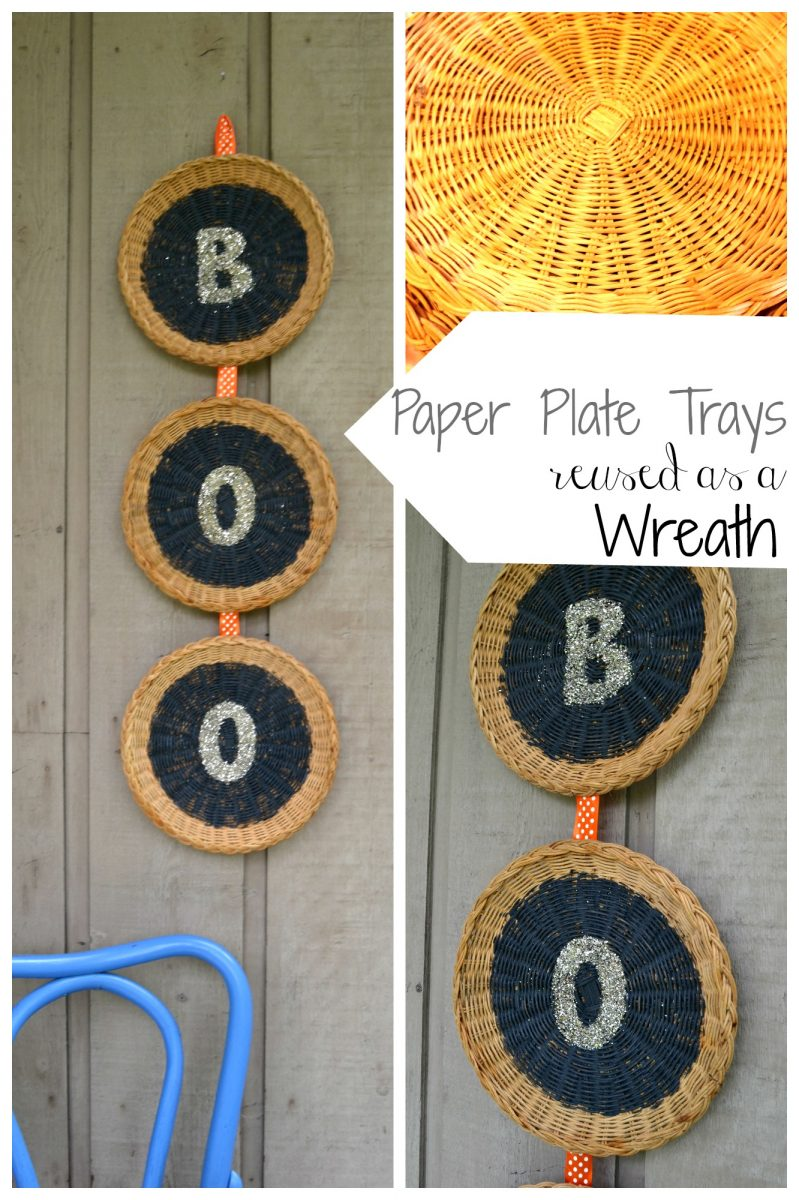 Paper plate holder turned into a halloween wreath
