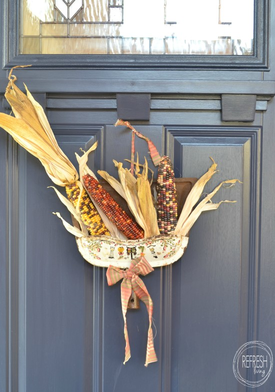 upcycled vintage fall wreath