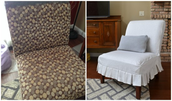 before and after custom chair slipcover diy