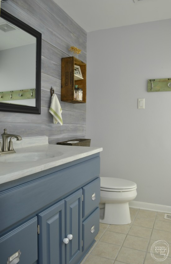budget bathroom remodel with whitewash plank wall