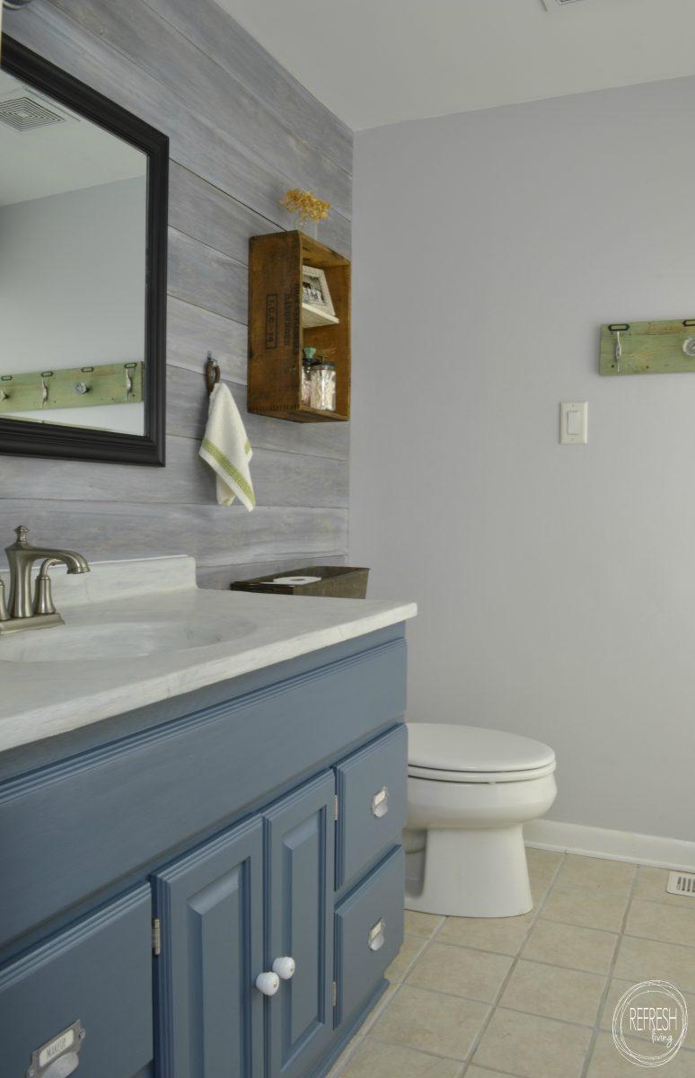 Vintage rustic industrial bathroom reveal refresh living for Budget bathroom remodel