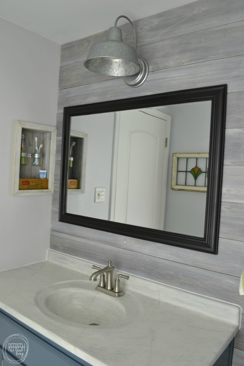 vintage rustic industrial bathroom reveal refresh living. Black Bedroom Furniture Sets. Home Design Ideas