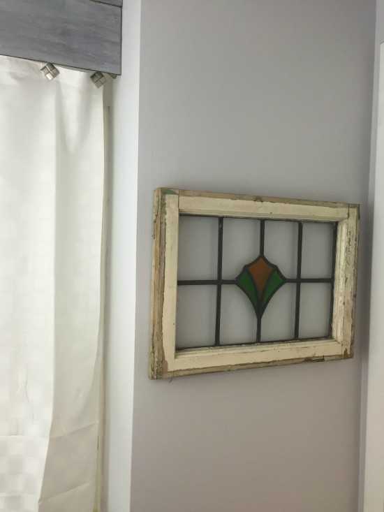 rustic vintage stained glass window