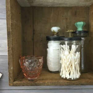 Upcycled Glass Jars into Bathroom Storage | Vintage Rustic Industrial Bathroom Makeover for $200