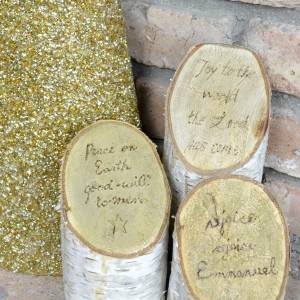Birch Log Pillars with Song Lyrics