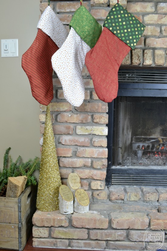 christmas craft with birch logs