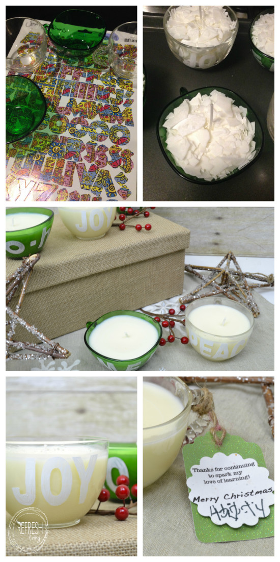DIY gift with thrift store glass cups made into candles | Handmade Christmas gift idea | Homemade Gift for Teachers