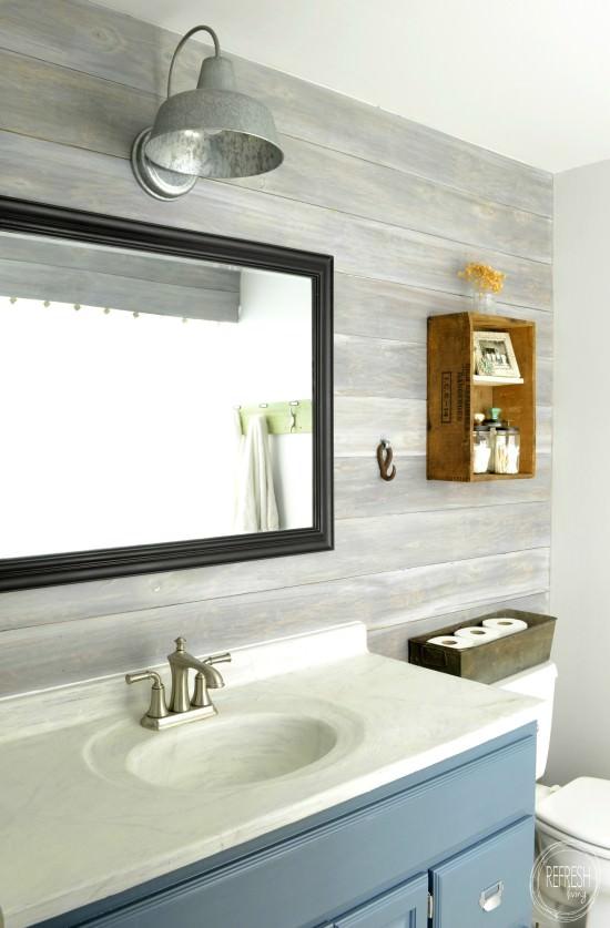 10 beautiful DIY faux shiplap and plank wall bathroom ideas.