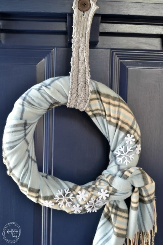 diy winter scarf wreath with thrift store items