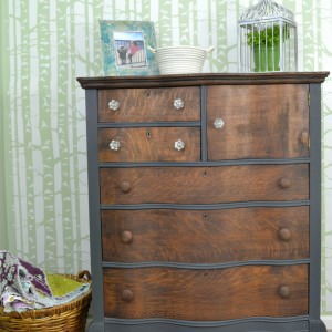 Dark gray and stained oak dresser | Antique oak dresser with serpentine drawers with a stained wood top | Two toned dresser