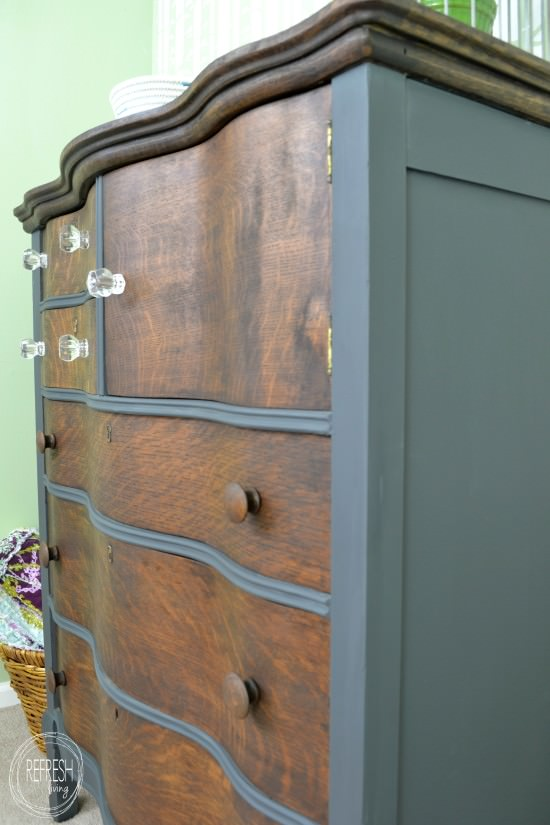 refinished antique dresser with general finishes slate gray