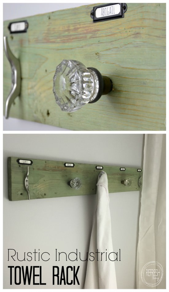 This rustic industrial towel rack is easy to make with the trick on how to attach antique glass door knobs.