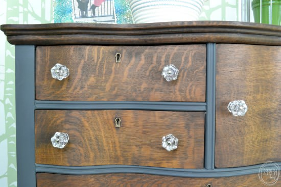 stain and paint antique two toned dresser with glass knobs