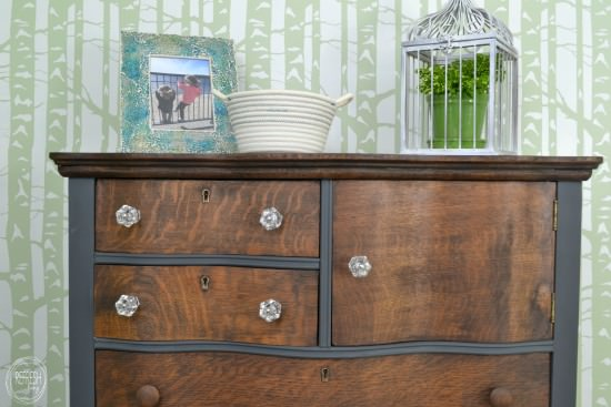 stained and painted antique oak dresser