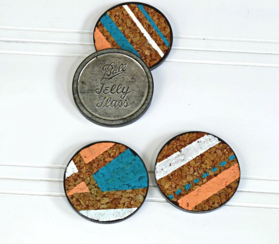 DIY geometric coasters with cork and vintage mason jar lids