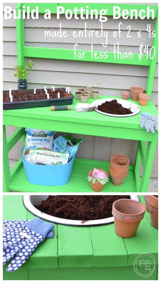 build a potting bench from 2 x 4s