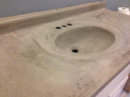 diy concrete countertop over laminate